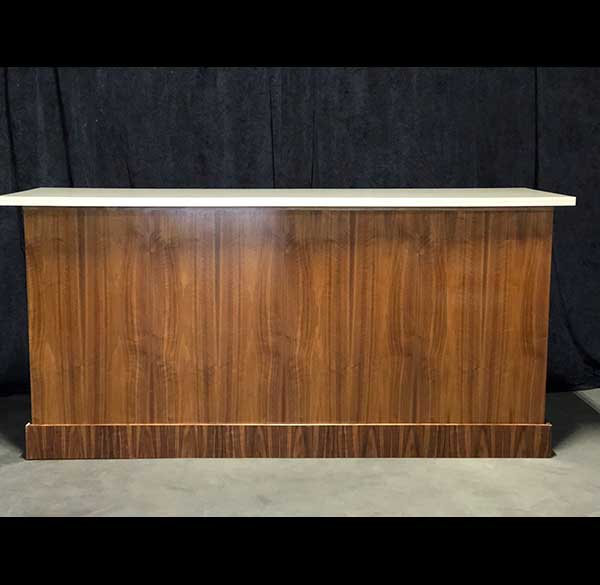 Party Perfect Rentals - 8 Ft Chestnut Panel Bar with Cream Top