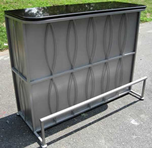 Party Perfect Rentals - Chrome Metal Bar with Black Marble Top